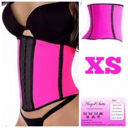 Bustino stringivita regular in latex Fucsia XS