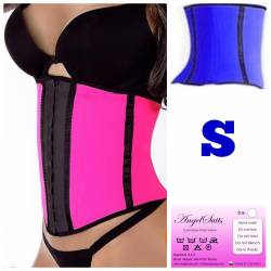 Bustino stringivita short in latex blu S