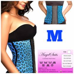 Bustino stringivita in latex animal print blu M