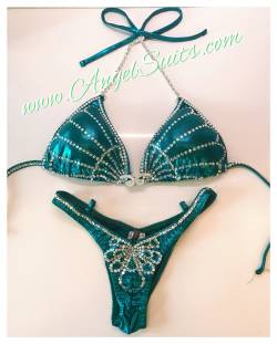 Peacock - C cup padded, ifbb bottom XS, teal green mist