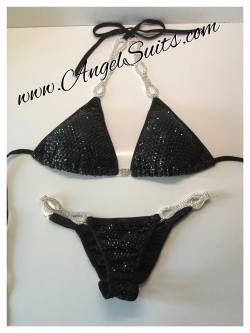 Bikini black mist cup C padded, bottom S, 4 rows chains and spirals